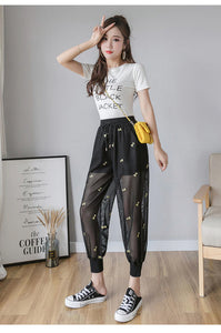 High Waist Embroidery Mesh Transparent Pants