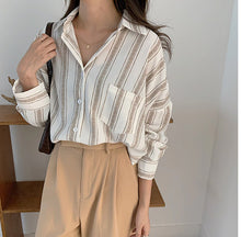 Load image into Gallery viewer, Loose Striped Casual Chiffon Long Sleeve Shirt