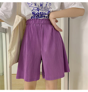 High Waist Pleated Short Pants