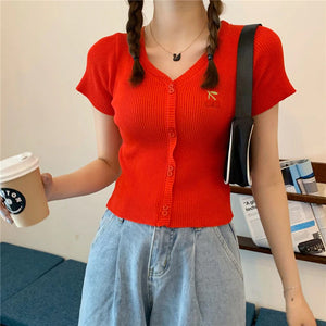 Cherry Embroidered with Button Slim Knitted Shirt