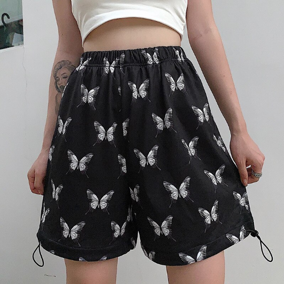 Butterfly Printed Loose Shorts Pants