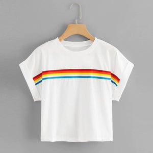 Rainbow Pattern Crop Top Shirt