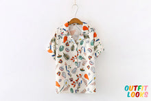 Load image into Gallery viewer, Short Sleeve Fruit and Vegetable Printed Chiffon Blouse Shirt