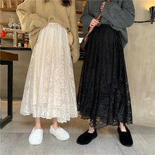 Load image into Gallery viewer, Elastic High Waist Lace A-Line Long Skirt