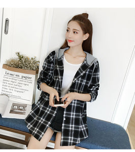 Plaid Hooded Long Sleeve Shirt Blouse