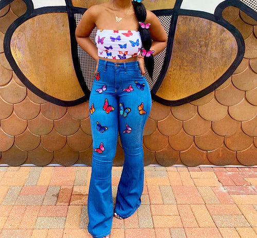 Wide Leg Butterfly Denim Jeans Pants