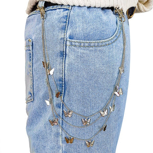 Butterfly Belt Waist Chain Pants