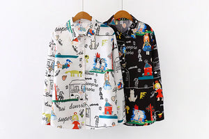Cartoon Doodle Printed Blouse Long Sleeve Shirt