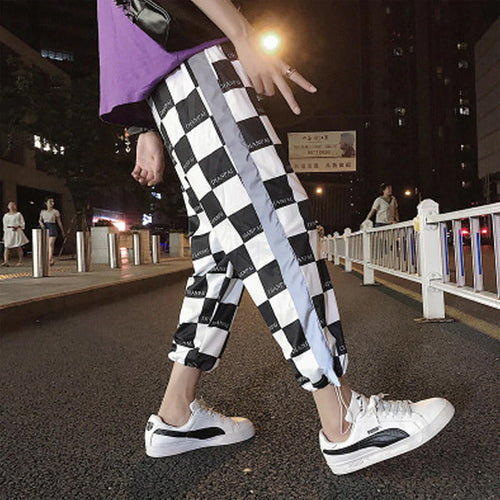 Ankle Length Checkered Plaid Jogger Pants