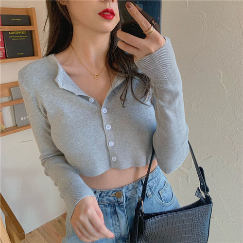 Elastic Knitted Button Long Sleeve Crop Tops