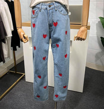 Load image into Gallery viewer, Heart Printed Jeans Pants