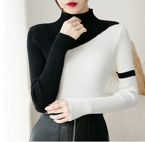 High Collar Turtleneck Slim Knitted Sweater