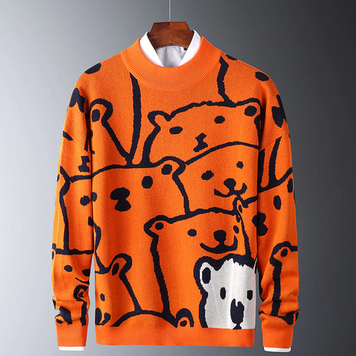 Casual Polar Bear Slim Cotton Long Sleeve Sweater