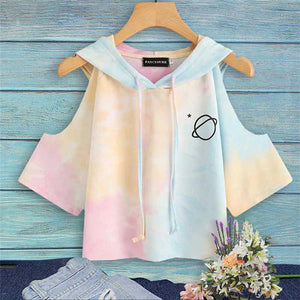Planet Pocket Printed Off Shoulder Hooded Shirt