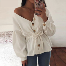 Load image into Gallery viewer, Casual V-Neck Blouse with Belted