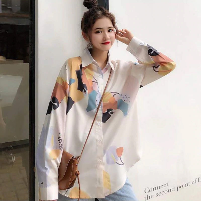 Retro Pattern Printed Turn Down Collar Blouse Shirt
