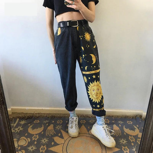 Moon and Stars Printed Black Denim Jeans Pants