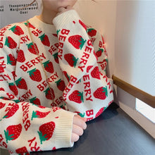 Load image into Gallery viewer, Vintage Strawberry Printed Loose Sweater