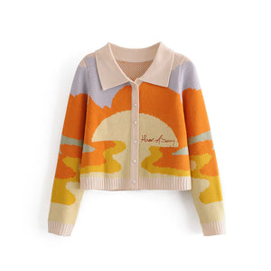 Sunset Painting Cropped Cardigan Sweater