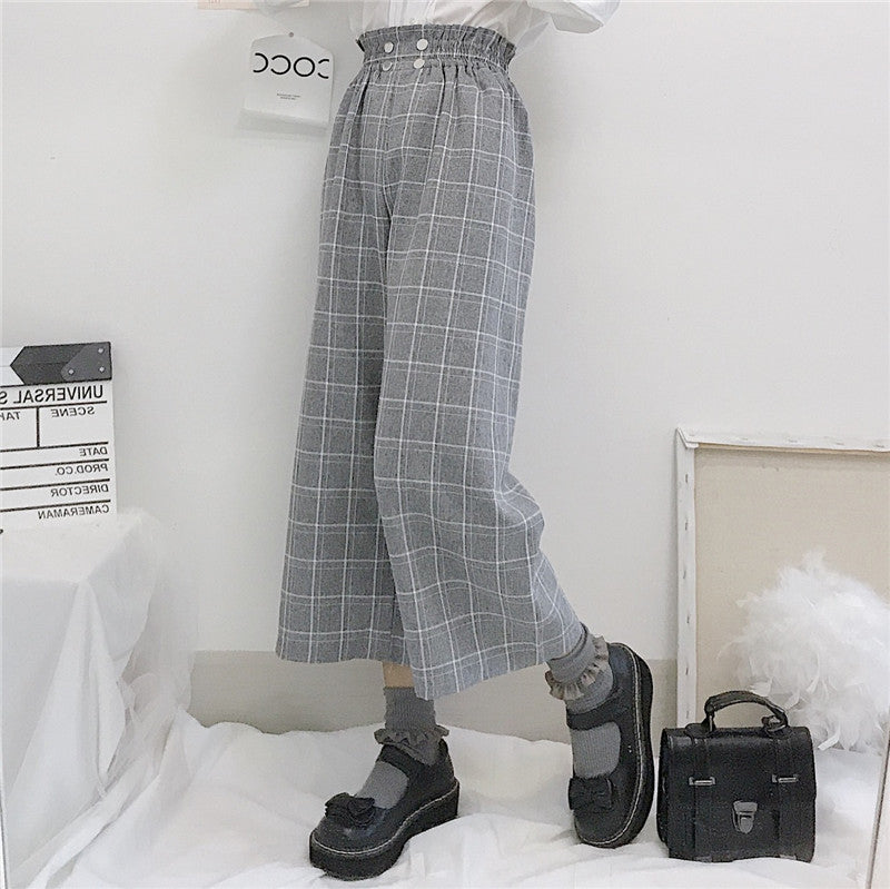 Plaid Ankle Length Chic Straight Pants