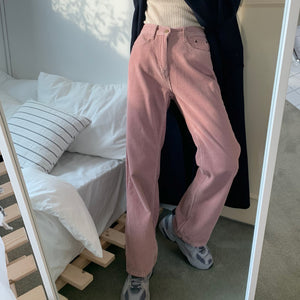 High Waist Solid Pink Straight Corduroy Pants