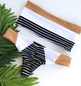Stripe Hit Color Bandage Bikini Set