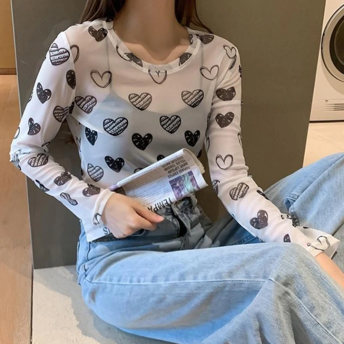 Heart Pattern Aesthetic Mesh Long Sleeve Shirt