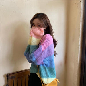 Sweet Color Striped O-Neck Sweater
