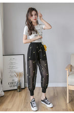 Load image into Gallery viewer, High Waist Embroidery Mesh Transparent Pants