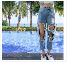 Load image into Gallery viewer, Vintage Loose Thin Ripped Jeans Pants