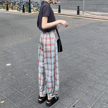 Load image into Gallery viewer, High Waist Red Blue Long Plaid Pants