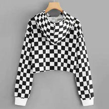 Load image into Gallery viewer, Black White Plaid Cropped Hoodie