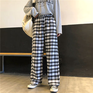 High Waist Wide Leg Plaid Loose Pants