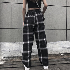 Checkered Black and White Elastic Waist Pants