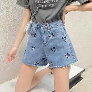 Mickey Embroidered Shorts Jeans