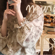 Load image into Gallery viewer, Floral Printed V-Neck Chiffon Blouse Shirt