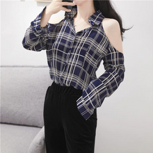Load image into Gallery viewer, Cute Off Shoulder Long Sleeve Plaid Shirt