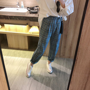 Plaid Color High Waist Ankle Pants