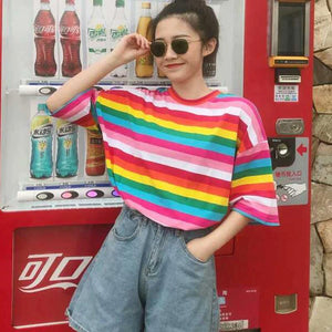 Rainbow Color Striped Loose Shirt