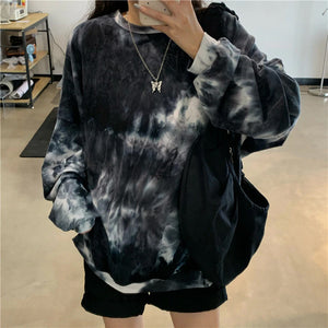 Black Tie Dye Printed Casual O-Neck Long Sleeve Shirt