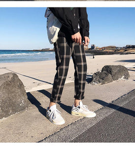 Casual Plaid Straight Ankle Length Pants