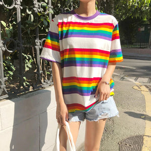 Short Sleeve Rainbow Striped Shirt