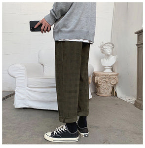 Casual Plaid Corduroy Pants
