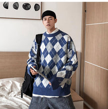 Load image into Gallery viewer, Diamond Plaid Pattern Oversized Sweater