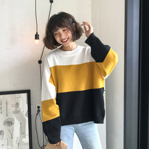 2 Colors O Neck Knitted Sweater