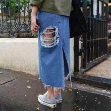 Load image into Gallery viewer, Split Front Hole Denim Skirts