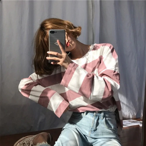 Oversize Striped Color Kawaii Shirt