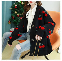 Load image into Gallery viewer, Cherries Full Pattern Cardigan Sweater