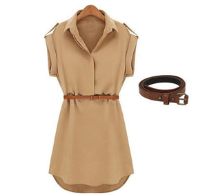 Casual Dress Short Slevee With Belt