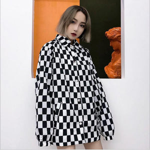 Loose Oversize Checkered Plaid Long Sleeve Shirt
